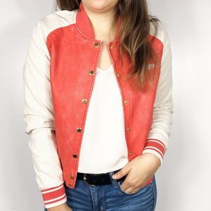 MEMBERS ONLY | Red Faux Leather Bomber Jacket